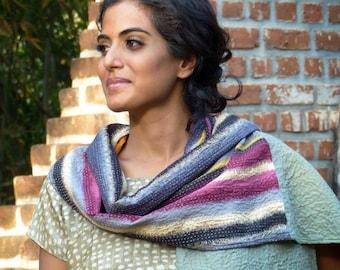 Echarpe patchwork réversible brodée à la main (kantha), coton/lin - gris/orange/multicolore