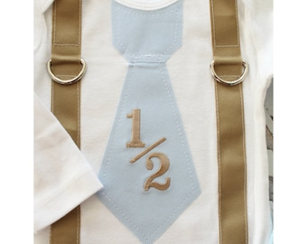 NEW Baby Boy 1/2 Half Birthday Outfit. Blue Herringbone Personalized Tie and Suspenders Bodysuit & Wood Button Leg Warmers SET. Coming Home