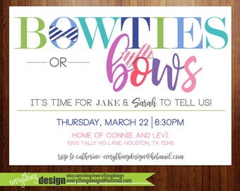 Bowties or Bows Gender Reveal Party - Custom digital or printed invitation + FREE SHIPPING!