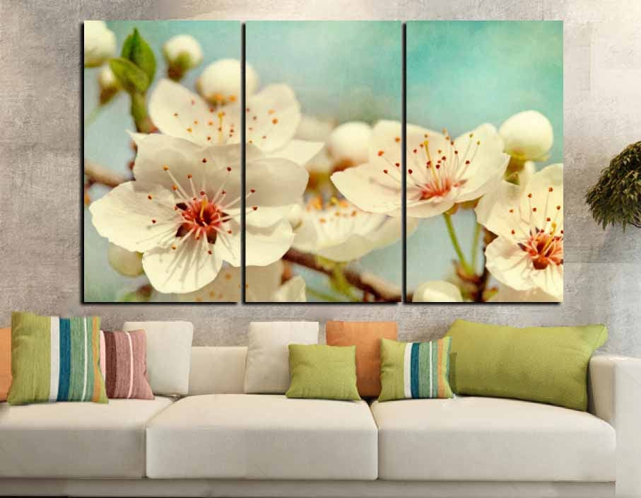 Cherry Blossom Wall Art Large Canvas Print,Cherry Blossom Art,Cherry ...