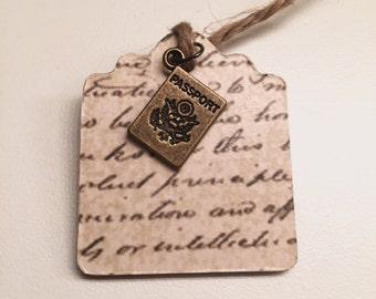 Bronze Passport Script Bookmark
