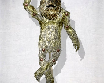 DIY paper articulated Doll puppet Bigfoot with mustache disguise