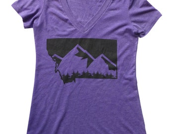 Women's Purple Montana Mountain V-neck