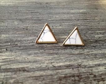 Marble Triangle Stud Earrings