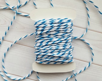 10 Yards Chunky Blue Baker's Twine, Blue and White Thick Twine, 100% Cotton