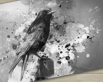 Crow art Crow giclee art print Gothic crow digital art gothic art print illustration bird art print wall art good luck black bird