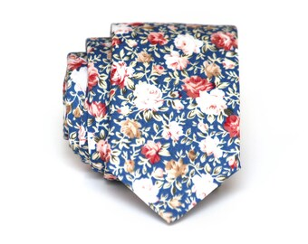 Mens Tie Blue Floral tie Flower necktie Groom's necktie Gift for groomsmen wedding tie TC116