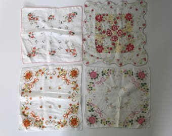 Vintage set of four hankies, floral hanky collection