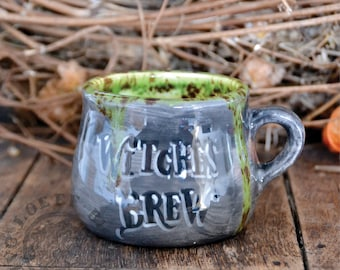Witches Brew Mug - Handmade and painted Pottery mug - witch cup dishwasher safe