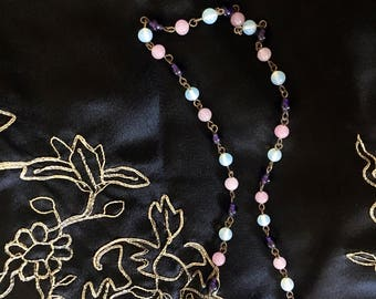 1920s Long Glass Bead Necklace Pink Purple Blue Glass Beads Art Deco Necklace Flapper Beads