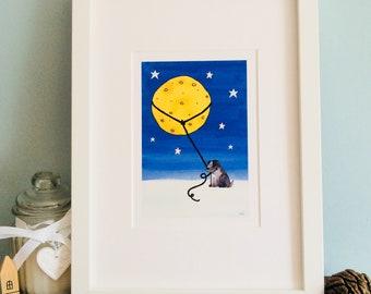 Monty Lassoes The Moon Print (Unframed)