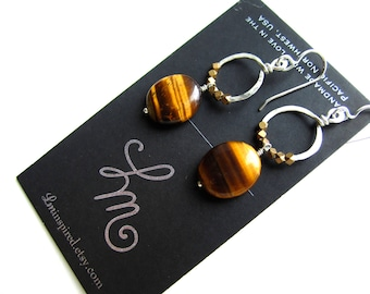 Tiger Eye and Brass Trade Beads on Petite Hammered Hoop Sterling Silver Earrings by LM-inspired