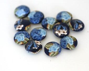 Winterflower Blue Polymer Clay Lentil Bead Dozen - Made to Order