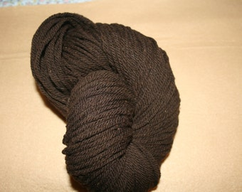 Merino wool yarn,  natural dark brown, exceptionally soft, 3 ply bulky weight, 190 yards.
