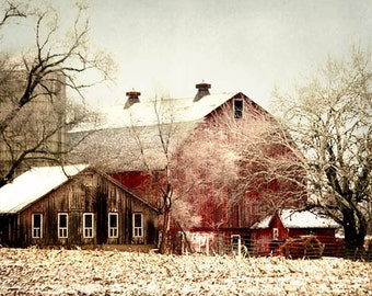 Barn Art, Red Barn Photograph, Rustic Barn Landscape, Old Red Barn Print, Old Country Barn, Rustic Home Decor, Farmhouse Decor