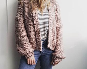 DIY Knitting Kit. Oversized Cardigan Sweater Jumper cardigan. Super Chunky Giant knit kit, Learn to knit, extreme pattern, Knitting kit K018
