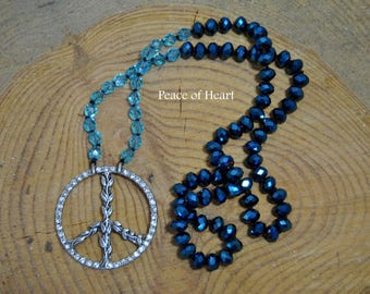 Boho necklace faceted blue glass bead pendant necklace - Peace of Heart - gemstone necklace, knotted necklace layering necklace, hippie
