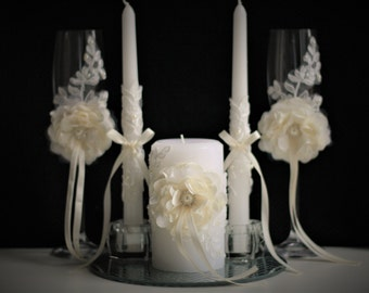 Ivory Wedding Unity Candles and Champagne Glasses + Flower \ Cake Serving Set + Ring Bearer Pillow & Flower Girl Basket + Ivory Guest Book