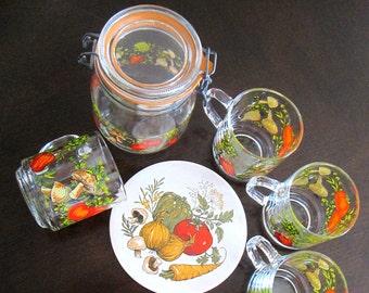 1970s Kitchen Arcoroc Mug Set Canister Trivet Vintage Mushrooms Veggies