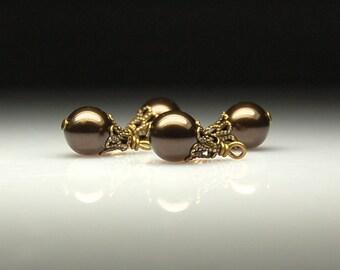 Vintage Style Bead Dangles Dark Brown Swarovski Crystal Pearls Set of Four BR50