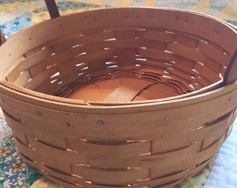 Vintage Longaberger Darning Basket Made in Ohio Made in The USA 1996 Woven Wooden Basket
