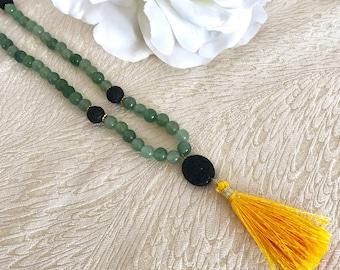 Green Aventurine Meditation Beads, Buddhist prayer beads, aventurine gemstone necklace, tassel necklace