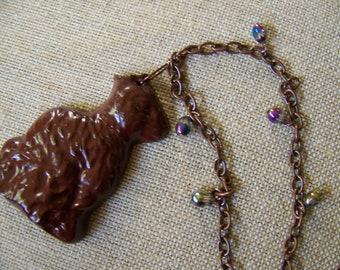 Earless Chocolate Easter Bunny Pendant Necklace,Easter Basket Stuffer,rabbit necklace,Bunny Necklace,Chocolate Bunny Necklace,#31b
