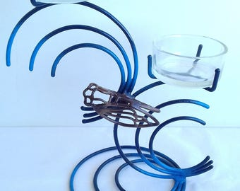 Candle CICADA 2 BRANCHES black gradient bleucreation handcrafted wrought iron handmade from reclaimed steel