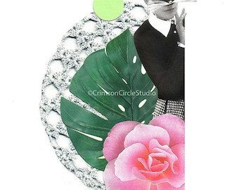 DIGITAL PRINT 5x7, black and white fashion pic, lace, monstera leaf, pink camellia, face mask, fashion magazine pic 'Hunting ground'