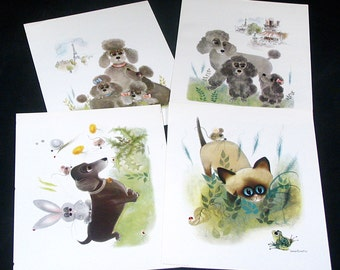 4 Vintage George Buckett Color Prints for framing, Decoupage, etc. High Quality Full Color Images Early 1960s Donald Art Co. LIthographs