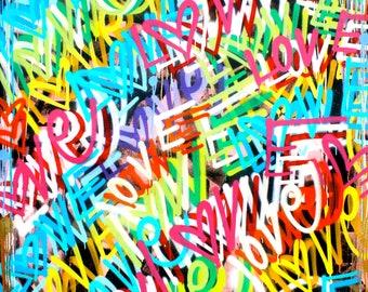 FREE SHIPPING Love Peace 56 x 72 inches street art graffiti contemporary modern art pop art spray paint design original style painting art