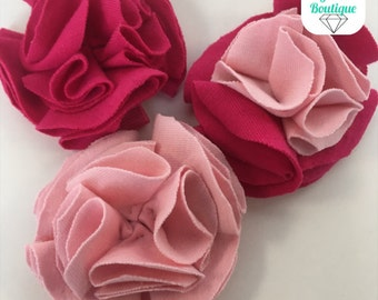 Pink and Magenta Trio Fabric Flower Hair Clips
