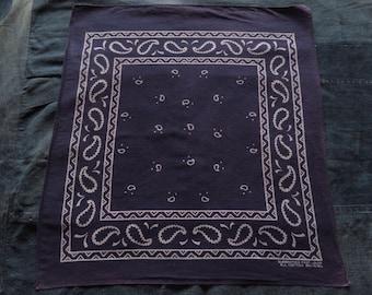 Vintage Indigo Blue Bandana Paisley Handkerchief Guaranteed Fast Color All Cotton #372