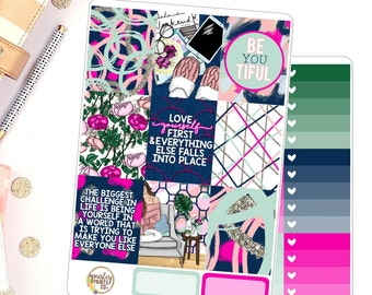 Love Yourself Weekly Kit for use in Erin Condren Life Planner Vertical Kit