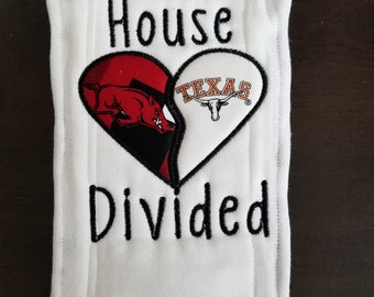 House Divided Burp Cloth- Customized baby burp cloth for baby boy or baby girl