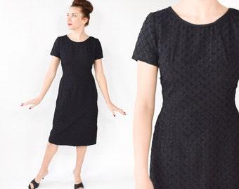 50s Ribbon Lace Dress | Black Lace Midcentury Wiggle Dress | Short Sleeve Sheath Dress | Medium