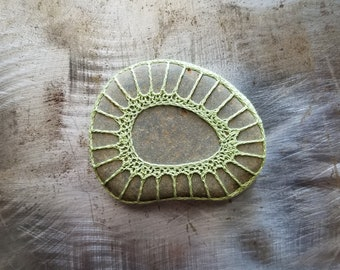 Crocheted Stone, Handmade, One of a Kind, Lace Unique Decorative Doily Rock,Bohemian Beach, Small, Green, Gray Brown, Miniature Art, Monicaj