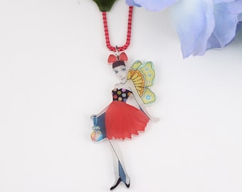 Cute Bonsny Angel Doll Acrylic Chain and Pendant Red