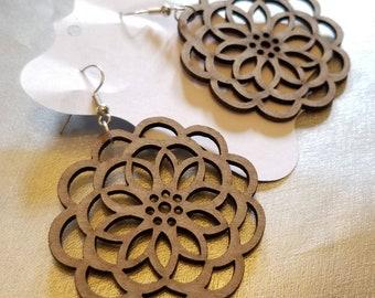 Round Wooden Medallion Earrings
