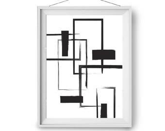 Abstract Art, Digital Painting, Black & White Print, Minimalist Art, Modern Art, Contmeporary Decor, Geometric Art, Art Prints, Print Avenue