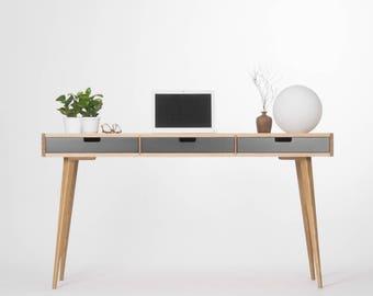 Computer desk, wood desk with black drawers, bureau, mid century modern
