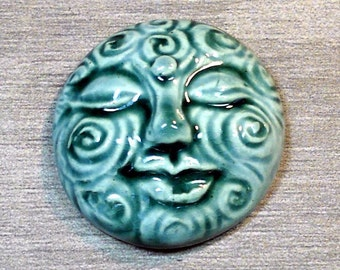 Large Spiral Face Ceramic Cabochon Stone in Peacock