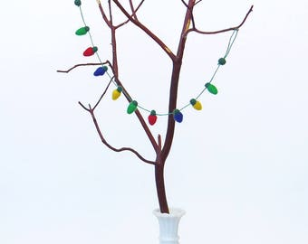 Miniature Felt Christmas light garland: needle felted wool tiny lights, dollhouse, small tree decor