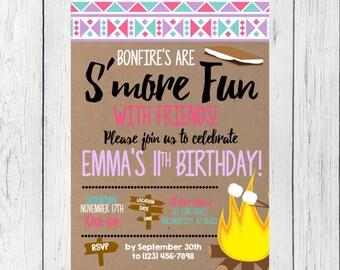 Bonfire S'mores Birthday invitation ***Digital File*** (Smores-TRIBAL)