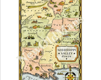 Mississippi Valley Digital 1940s Vintage Illustrated Map by Kathleen Voute Louisiana New Orleans Arkansas Missouri One of 10 of Entire USA