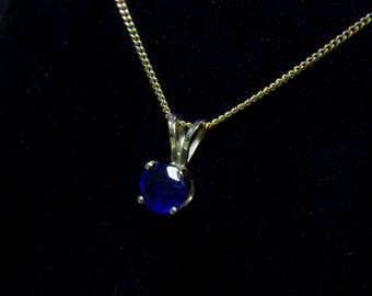 Sapphire gold necklace-Gold 14k pendant with sapphire