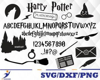 Harry Potter font svg,dxf,png/Harry Potter alphabet digital clipart for Design or more