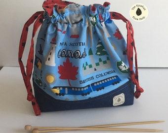 OH CANADA Bag and Charm Set   Just Add Yarn   Drawstring Bag   Small Project Bag   Maple Leaf   Progress Keeper   Stitch Marker