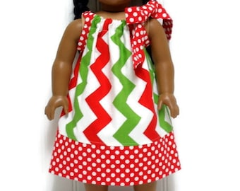 18 inch Doll Clothes Christmas Chevron Red Polka Dot Pillowcase Dress 15 Inch Doll Clothes