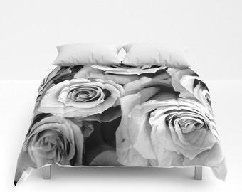roses comforter black white bedding flower bedding unique flower comforter full - Black And White Comforter